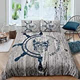 Nautical Skull Comforter Cover Full Size Pirate Bedding Set For Kids Teen Young Man Steering Wheel Duvet Cover Retro Woonden Print Bedspreads Cover Boys Room Decor With 2 Pillow Cases Blue Brown