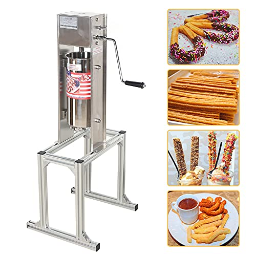 Churro Maker Machine 5L Stainless Steel Heavy Duty Churros Maker Vertical Churro Make Machine Latin Fruit Machine for Commerial or Home, Cafeterias & Bakeries