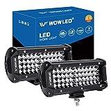 WOWLED Spot Work Light Bar, 2Pcs 7' 4 Rows LED Light Bar 14400LM 6000K Waterproof Off Road LED Lights Car...