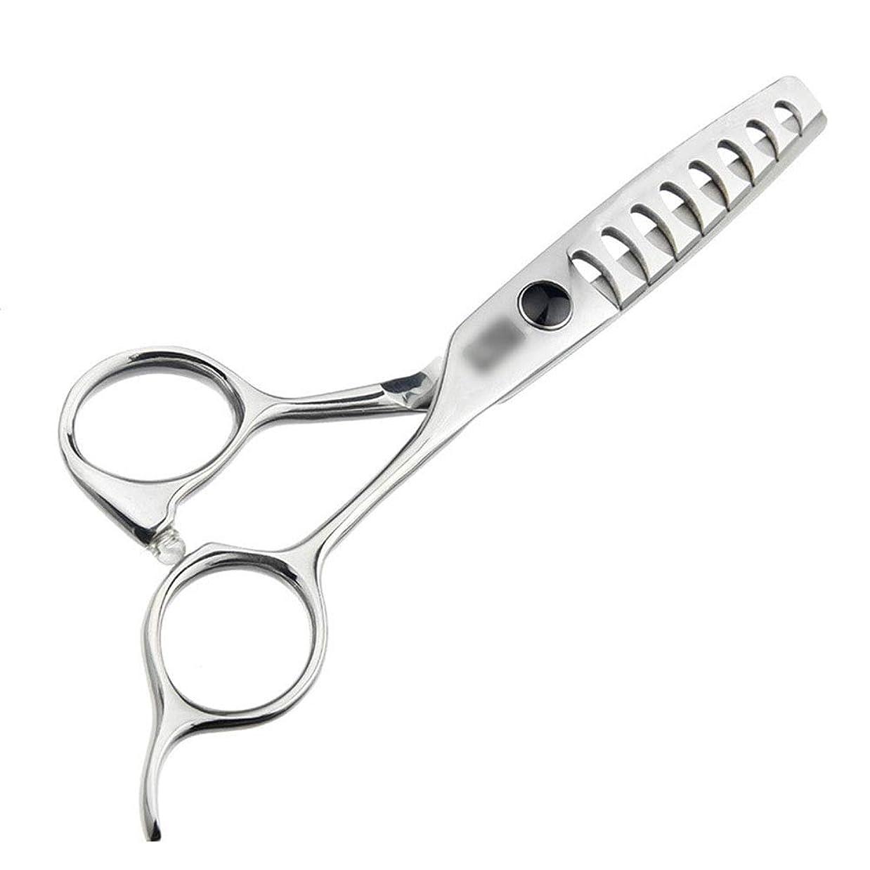モザイク劇場牧草地トリミングシザー 5.5インチの高級ヘアカットの魚の骨のはさみ、継ぎ目が無い毛はさみの毛の切断はさみのステンレス製の理髪師のはさみ (色 : Silver)