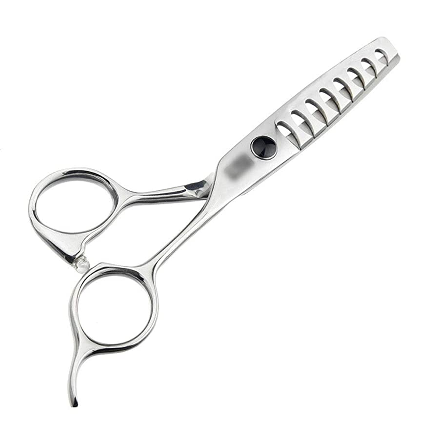 スタジアムバングテンションカットハサミ ヘアスタイリングツール 5.5インチの散髪の上限の魚の骨のはさみ、継ぎ目が無い毛のはさみ ヘアカットシザー (色 : Silver)