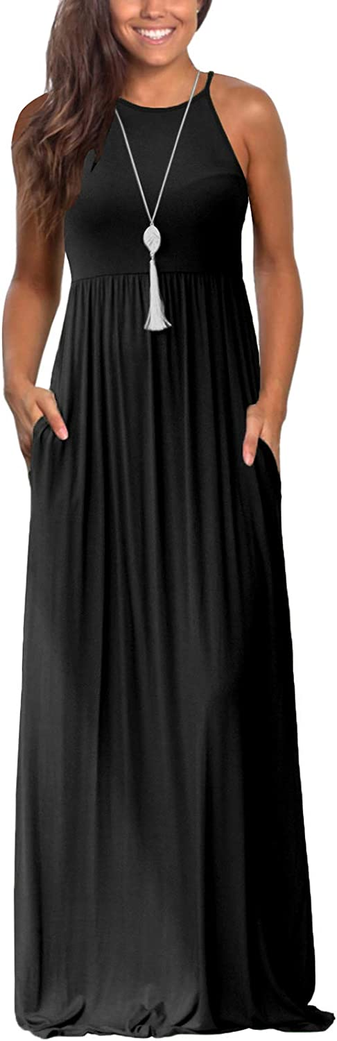 Lamilus Maxi Dresses for Women Summer Sleeveless Loose Plain Casual Long Dress with Pockets