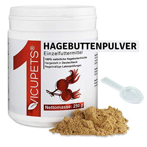 Vicupets ONE I 250g Hagebuttenpulver für Hunde, Pferde & Katzen I Hoher Vitamin C Gehalt zur Stärkung der Abwehrkräfte I 100% Hagebuttenpulver für Pferde