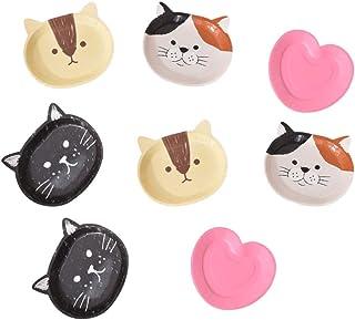 Yardwe 8 Piezas Plato de Papel Desechable Gato de Dibujos Animados Dulces Impresos Platos de Aperitivo Espesar Platos de Pastel con Forma de Amor para El Hogar de Cumpleaños (Patrón Aleatorio)