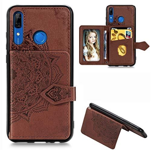 Carcasa para Huawei P Smart Z Mandala en relieve de tela magnética PU + TPU + PC Funda con soporte y ranuras para tarjetas, cartera y marco de fotos y correa (color: marrón)