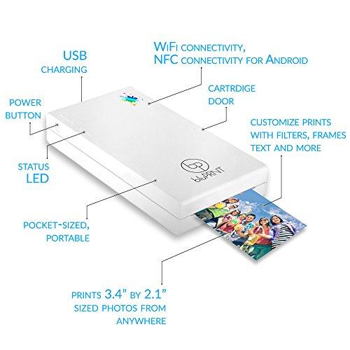 BluPrnt Smartphone Social Media Photos WiFi NFC Instant Portable White Printer