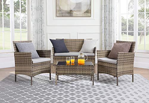 Salbay Rattan-Gartenmöbel-Set für Terrasse, Wintergarten, drinnen und draußen, 4-teiliges Set mit Tisch und Stuhl und Sofa - 7