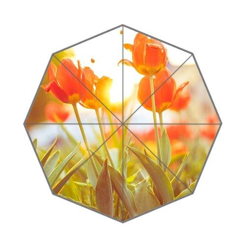 Flipped Zomer Y Rode Tulpen Tegen Zonsondergang Aangepaste Kunst Prints Paraplu