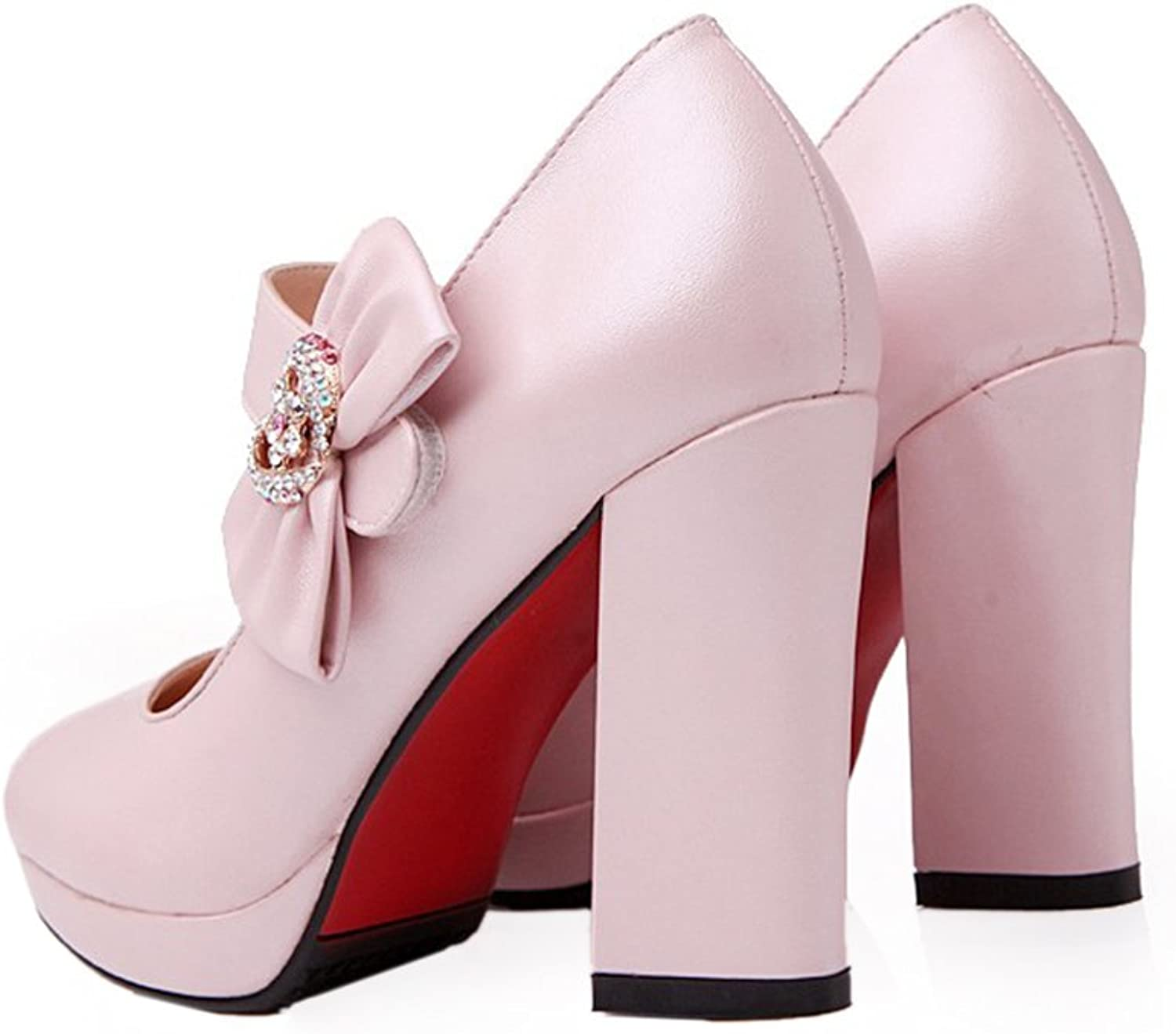 Platform High Thick Heel Bowknot Pointed Thin shoes pink