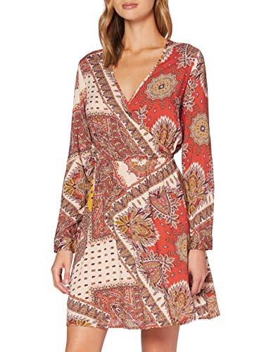 ONLY Damen Onlnova L/S WRAP Dress 9 WVN Kleid, Rot (Lotus AOP: Flame Paisley), Large (Herstellergröße: 40)