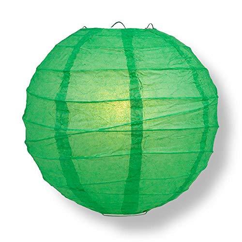 "Quasimoon PaperLanternStore.com 24"" Emerald Green Round Paper Lantern, Crisscross Ribbing, Hanging Decoration"
