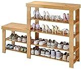 XNSCL Organizador multifunción de 4 niveles para zapatos, de bambú, de alto nivel, organizador de zapatos para armario, guardarropa, sala de estar, tamaño 100 cm (tamaño: 120 cm)