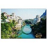 Puente Viejo Mostar Bosnia Puzzle 1000 Piezas para Adultos Familia Rompecabezas Recuerdo Turismo Regalo