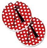 Caroline tesoros de la letra A Monogram–rojo y negro lunares set de 2cup Holder coche posavasos cj1012-acarc, 2,56, multicolor