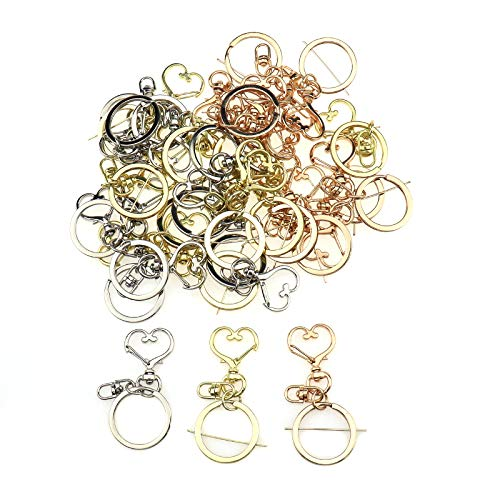 Semetall 30Pcs Metal Swivel Key Chain with Split Key Ring,Snap-On Keychain Ring Hook Spring Clip(Heart Shape,3 Colors)