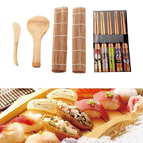 DEWIN Set Sushi,Sushi Maker Kit per Sushi in Bambù Family Office Party Gadget Giapponesi Sushi Fatto in Casa per Gli Amanti del Cibo 13 Pezzi/Set