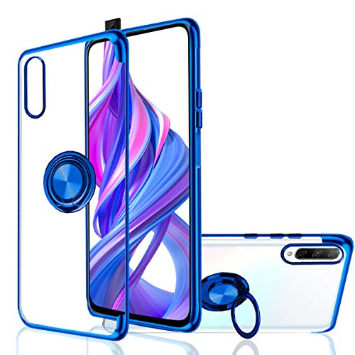 Hülle für HUAWEI Honor 9X Pro / P Smart Pro - [Rotieren Ring Halterung] Silikon Weich Kristallklar [Galvanische Metall Farbe] Absorbierbarer Magnet (Honor 9X Pro/P Smart Pro, Blau)