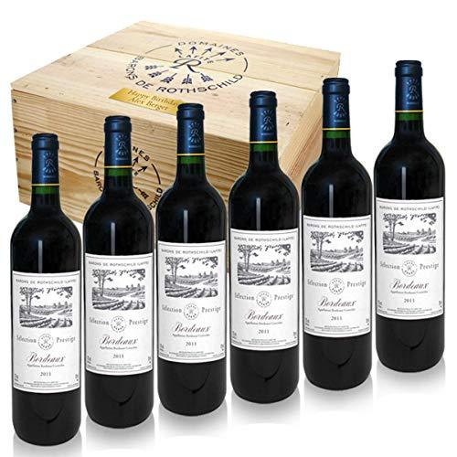 6 Flaschen feinster Barons de Rothschild (Lafite) 2016 in edler Weinkiste aus Holz als edle Geschenkidee mit Ihrer individuellen Gravur