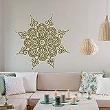 Mandala flor pegatina de pared vinilo extraíble Yoga Studio pegatina Mural Boho marroquí pegatina de fondo Mural 57x57cm