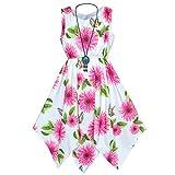 Sunny Fashion Robe Fille Rose Fleur Mouchoir Ourlet avec Collier 14 Ans