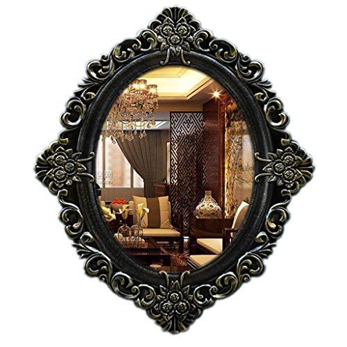 gxj Espejos Espejo Ovalado Estilo Barroco Espejos De Pared Decorativos, Espejo De Maquillaje 59x 60 Cm, Oro Vintage