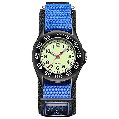 Spinning Bisel Kid Cuarzo Relojes Niño Nylon Correas Niños Lindo Reloj Rotary Dial Número árabe, Monsteramy (Color : Blue)