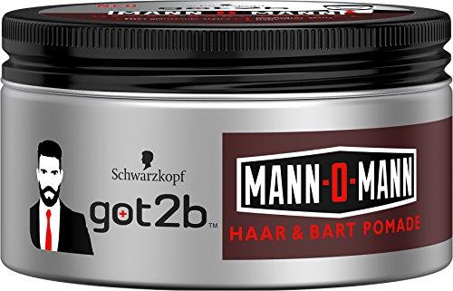 Schwarzkopf Got2b Mann-o-Mann Haar & Bart Pomade, Halt 4, 2er Pack (2 x 100 ml)