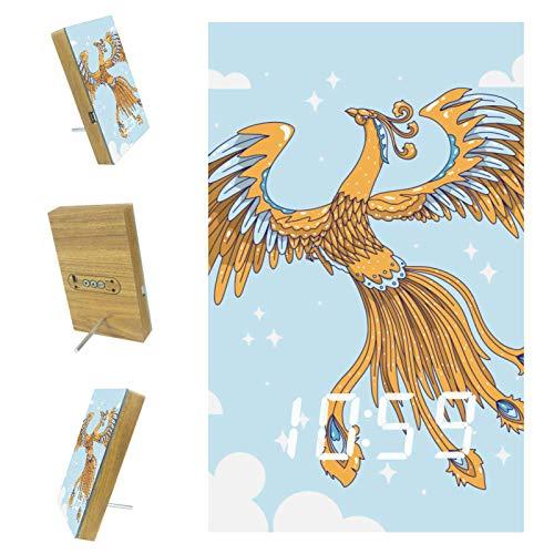 nakw88 Phoenix And Sky - Reloj despertador digital para dormitorio, con puerto USB para cargar, oficina y decoración del hogar