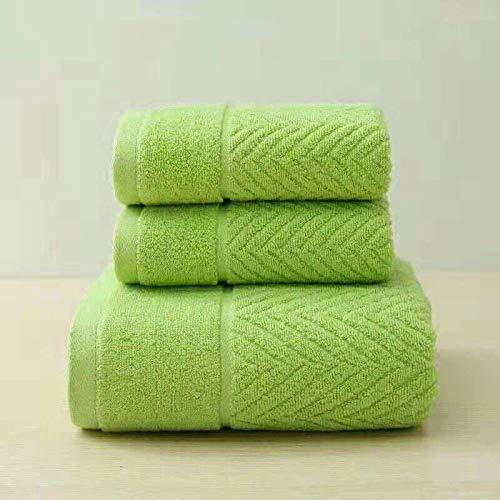 Juego de 2 toallas de jacquard de lujo, 100% algodón, color verde
