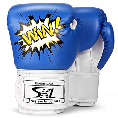 SKL Kids Boxing Gloves 4oz Training Gloves for Children Cartoon Sparring Boxing Gloves Training Mitts Junior Punch PU Leather Age 5-12 Years(Blue)