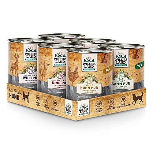 Wildes Land | Probierpaket | 6 x 800 g | Hundefutter | Nassfutter