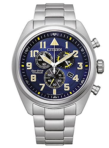 Citizen Eco-Drive AT2480-81L - Reloj cronógrafo para hombre (titanio), color azul
