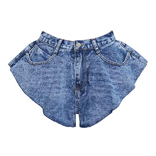 Falda Mujer,Denim Shorts Faldas Ruffle Hem Loose Ruched Short Pants Female Fashion Fashion Tide Simple Casual Style High Waist Falda Cómoda, Azul,L