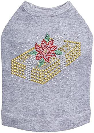 Gold Bling Ranking TOP11 Rhinestone Christmas Dog Heather XS Shirt Gray Challenge the lowest price of Japan ☆