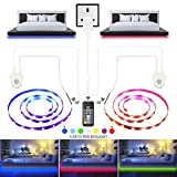 Under Bed Light, XBLED LED Strip Lights 6.56ft x 2 Motion Sensor RGB Color Changing LED Tape Lights with RF Remote Automatic Night Light for Home Kitchen Bathroom Wardrobe Indoor Decoration