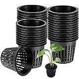 WZYTEU 45 pcs Pot Hydroponique, Réutilisable Panier Hydroponie pour Culture Hydroponique Aéroponique, Plantation de Fleurs, Jardinage (8*5.6cm, Noir)