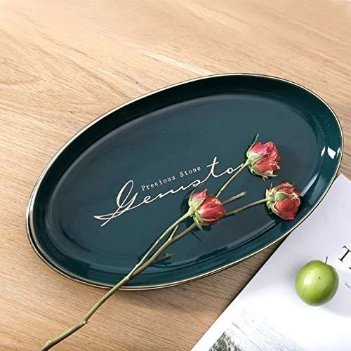 Service de Table Porcelaine Lettre d'or ovale nordique Céramique Vaisselle Solide vert Porcelaine Assiette Petit déjeuner Steak Dessert Plateau plat en céramique Snack