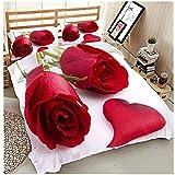 3D Rose Blume Löwenzahn Schmetterling Muster Bettwäsche für Mädchen Rosa Lila Rot Weiß Champagner Bunte Tagesdecke 3 Stück Bettbezug Set (Frische Rose, 135 * 200cm)