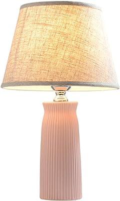 Lámpara de sobremesa de cerámica de color rosa, mesa de noche ...