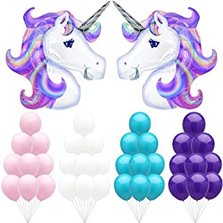 Large Unicorn Party Balloons Kit – Pack of 40, Light Pink, Purple, White and Turquoise Latex Balloons | Great for Birthdays, Baby Bridal Shower Backdrop, Home Office Décor | Colorful and Vibrant