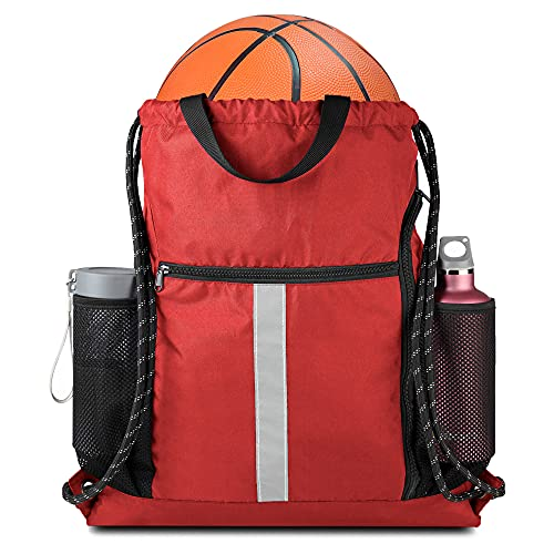 BeeGreen Red Drawstring Backpack Gymsack Bag with Shoe Compartment and Two Side Mesh Pockets Lightweight Durable Sports Cinch Sackpack 1 Pack for Women Men Workout Swim