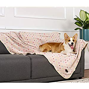 PetLike Dog Blanket Super Soft Fleece Fluffy Cozy Pet Throw for Small, Medium and Large Dogs, Puppy and Cats, Cute Pattern Pet Blankets Flannel with Multiple Sizes