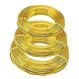 Alambre de aluminio dorado para manualidades, 3 tamaños (1 mm, 2 mm y 3 mm de diámetro),...