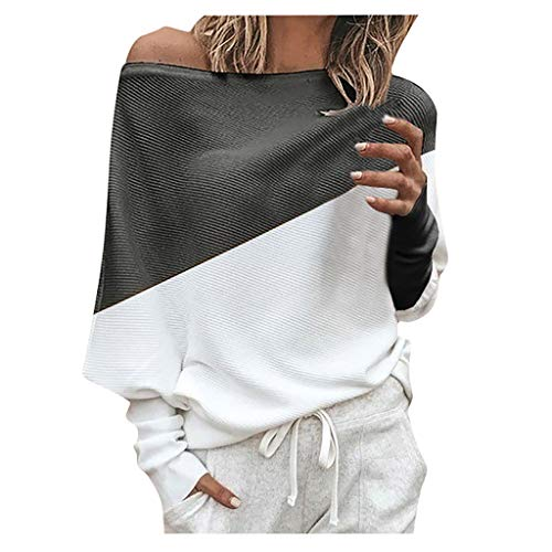 TOPSELD Frauen Flügel Hülsen Gestrickter Pullover Lose Strickjacken Oberteil Strickwaren Fledermausärmel Sweatshirt Off Shoulder Pullover Casual Oberteile Langarm T-Shirt Tops Damen