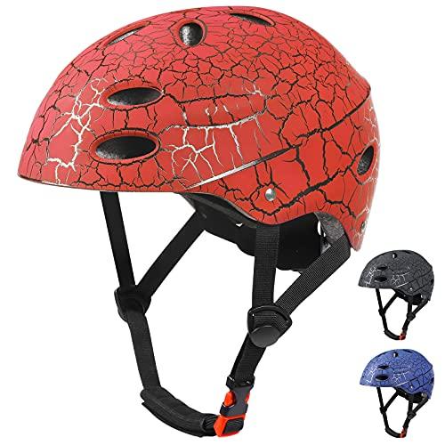 KUSTAR, casco da bicicletta per bambini, comodo, regolabile, per bambini, ragazzi dai 5 ai 12 anni, ideale per bicicletta, scooter, skateboard, e altri sport all'aperto (rosso chiaro)