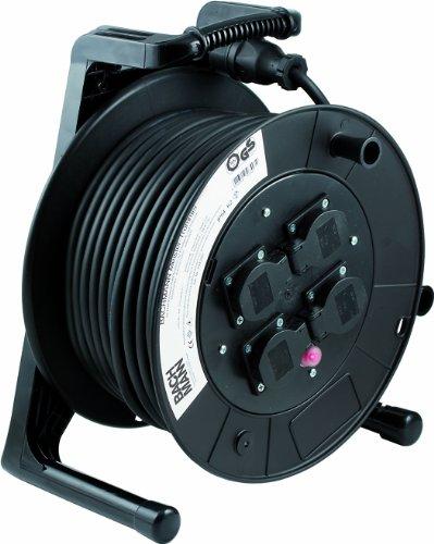 Bachmann 399.005 Kabelhaspel, 4-voudig, 50 m, met thermische beveiliging, zwart