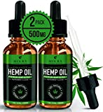 (2 Pack) Hemp Oil for Pain Relief Anxiety Sleep Mood Stress Immune Immunity Support - 500mg - Best Pure Natural Organic Vitamins Fatty Acids Hemp Seed Extract Tincture Drops, Zero THC - 500mg