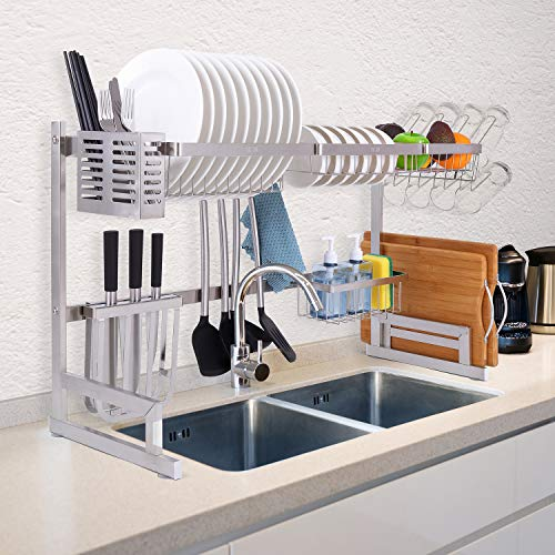 Homelux Theory Over The Sink Dish Drying Rack PREMIUM STAINLESS STEEL. ADJUSTABLE Kitchen Rack in SILVER. Above Sink Dish Rack Shelf Kitchen Counter Organizer Dishrack. 2 Tier Sturdy Dish Rack Drainer