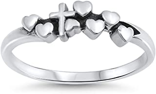 Cross Heart Love Jesus Purity Promise Ring .925 Sterling Silver Band Sizes 4-10