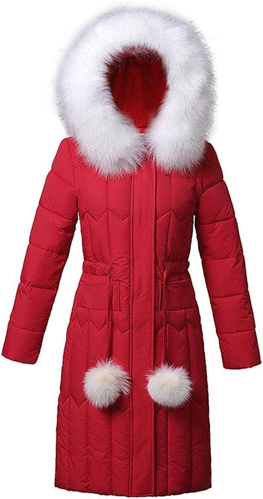 ZIXING Fashion Damen Beiläufige Dicker Langarm Einfarbig Kunstpelz mit Kapuze Langer Jacken-Mantel Slim Steppmantel Wintermantel Rot